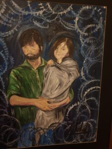 A Painting of Yaseen Malik and his daughter by Mushaal Malik which shows them in captivity