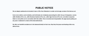 A public notice appearing on the website of Jaffer Brothers